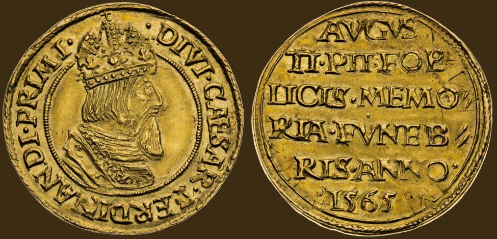 Zlatá medaile (Dukát) 1565. Pohřeb v Katedrále sv. Víta v Praze