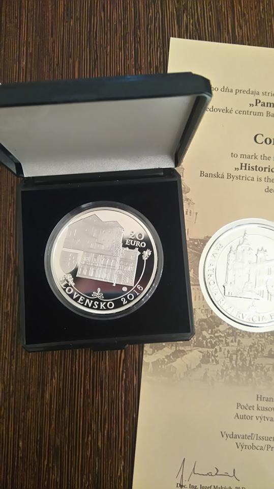 20€ Ag pamätná minca Pamiatková rezervácia Banská Bystrica