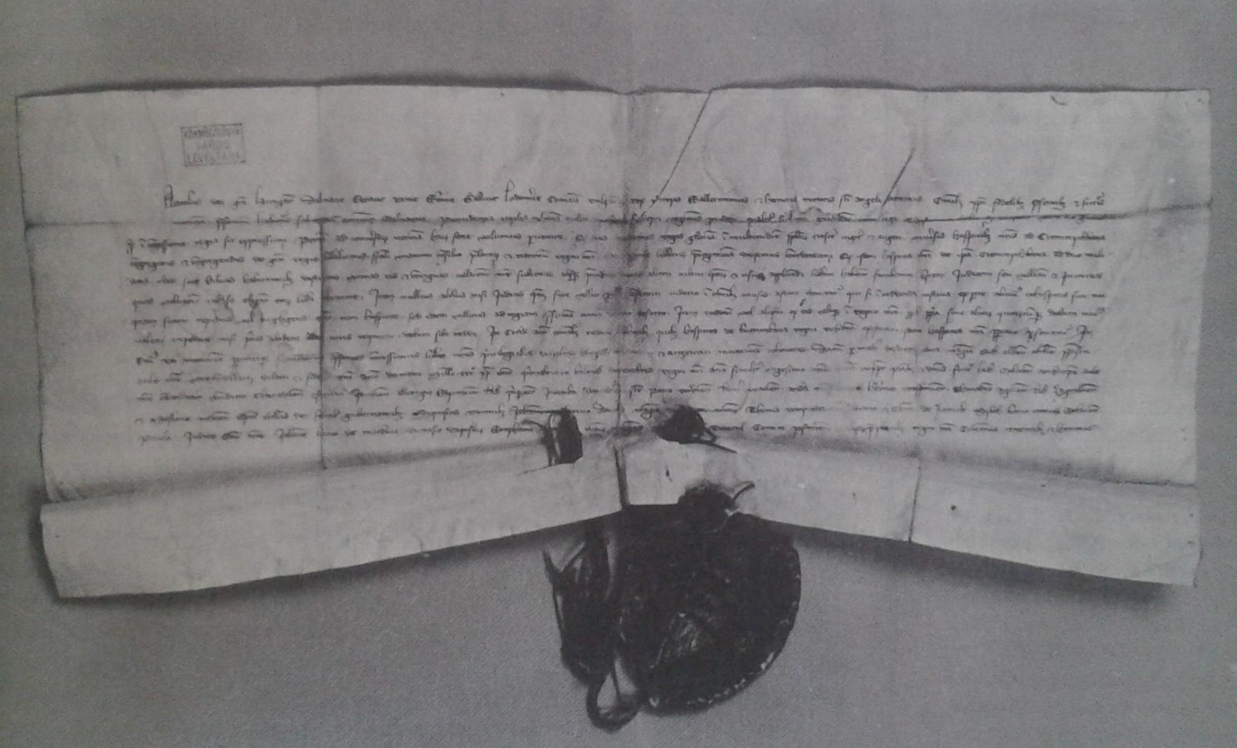 Die privilegierte Liste von ungarischen Konigs Karl Robert von Anjou, 17. November 1328, Kremnitz bekommt Kuttenberger bergmännische und Münze Berechtigung