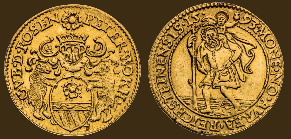 Dukát 1593 Petr Vok z Rožmberka