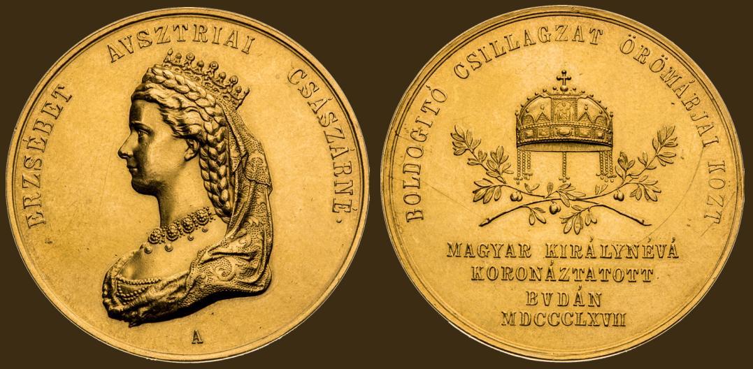 Zlatá medaile 1867 (15 Dukát). Alžběta Bavorská. Korunovace na uherskou královnu v Budíně