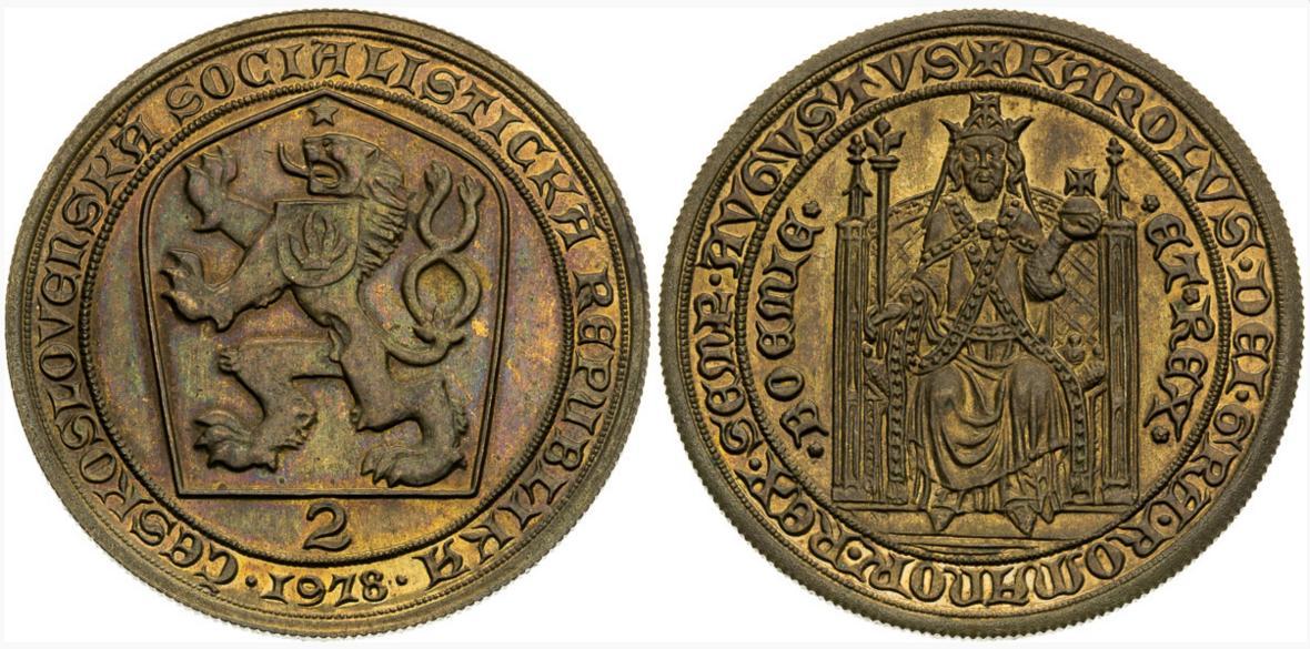 2 dukát 1978 Karel IV. skúšobný odrazok